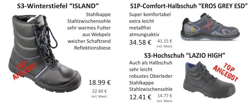 S3-Winterstiefel Island, S1P-Comfort-Halbschuh Eros Grey ESD und S3-Hochschuh Lazio High