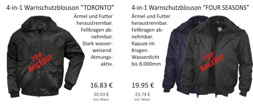 4-in-1 Warnschutzblouson Toronto und 4-in-1 Warnschutzblouson Four Seasons