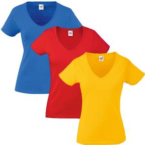 3b3df148094468 Damen T-Shirt - Fruit of the Loom Valueweight V-Neck-Tee 129.01 - 9  verschiedene Farben