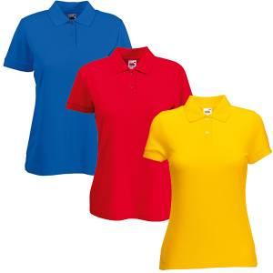 detaillierte Bilder viele möglichkeiten große Auswahl Damen Piqué-Polo-Shirt - Fruit of the Loom Lady Fit 593.01 - 11  verschiedene Farben