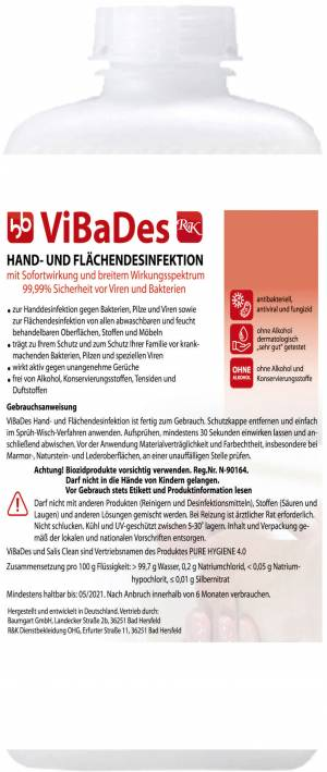 500ml HOCHWIRKSAME DESINFEKTIONS-LOESUNG - ViBaDes (PURE HYGIENE 4.0) DERMATEST SEHR GUT