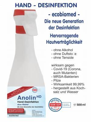 500ml ECOBIOMED (alkoholfrei) HAND-DESFINKETIONS-LÖSUNG - ANOLIN - die neue Generation der Desinfektion