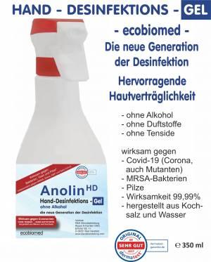 350ml ECOBIOMED (alkoholfreies) HAND-DESFINKETIONS-GEL - ANOLIN - die neue Generation der Desinfektion